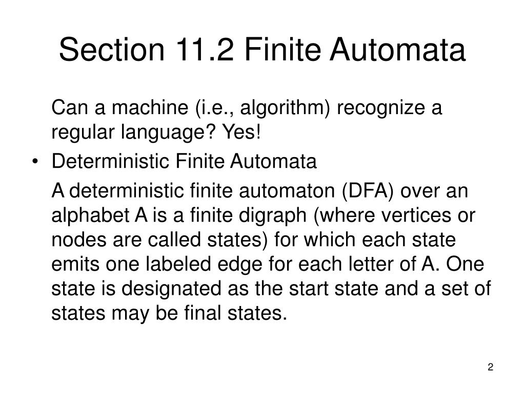 Section 11.2 Finite Automata