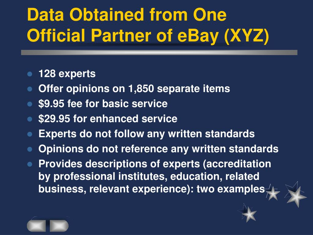 Data Obtained from One Official Partner of eBay (XYZ)