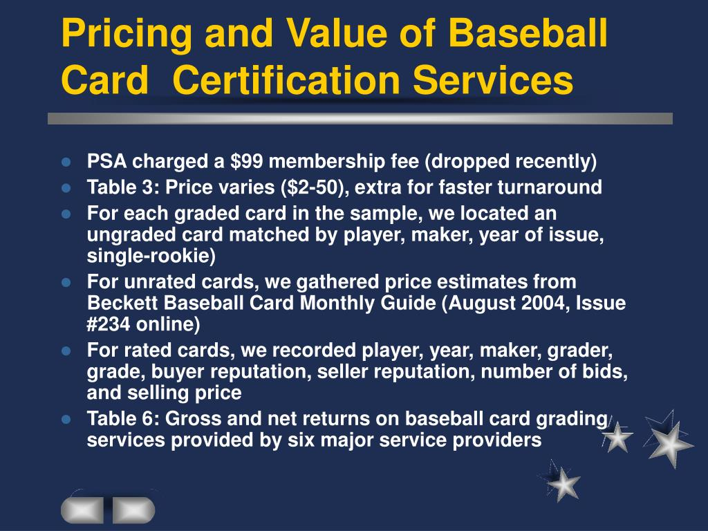 Pricing and Value of Baseball Card  Certification Services