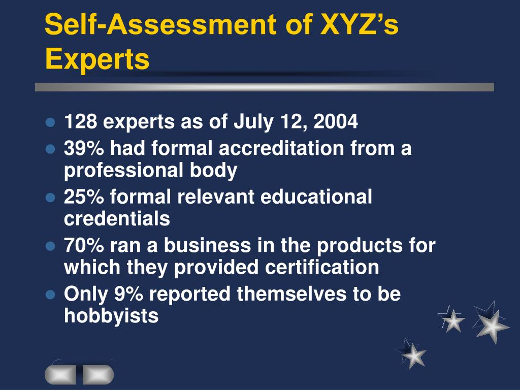 Self-Assessment of XYZ's Experts