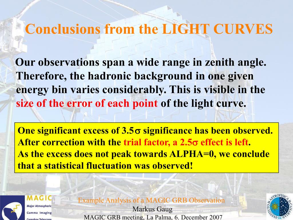 Conclusions from the LIGHT CURVES