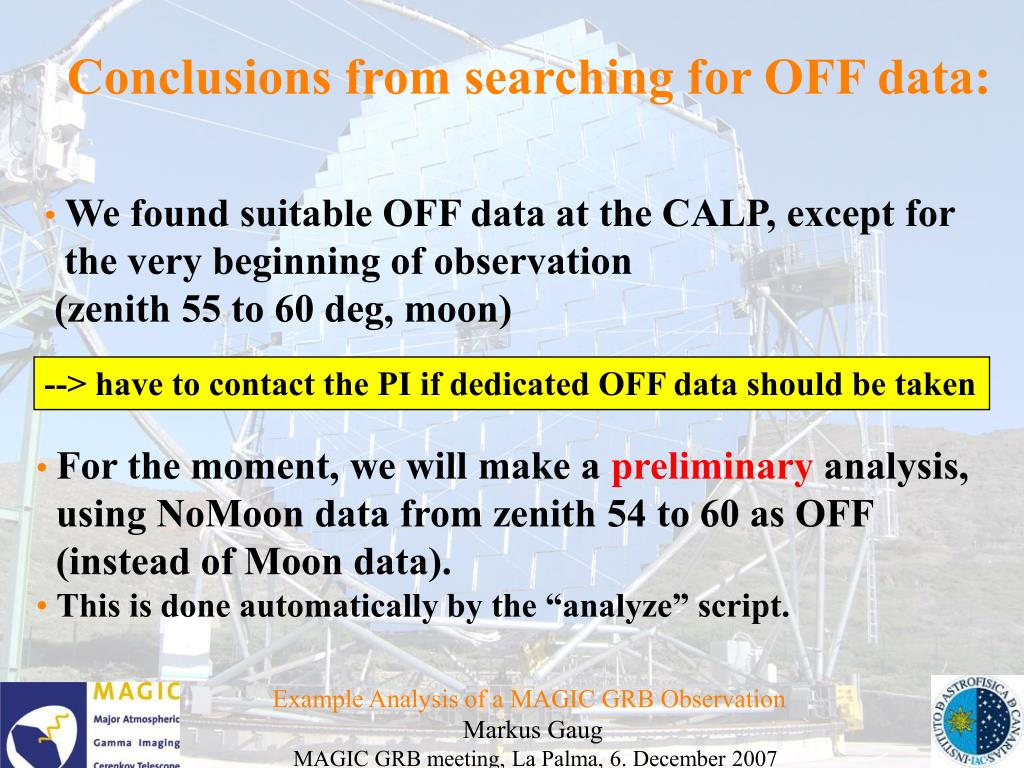 Conclusions from searching for OFF data: