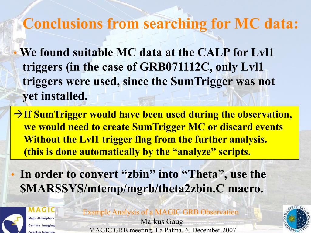 Conclusions from searching for MC data: