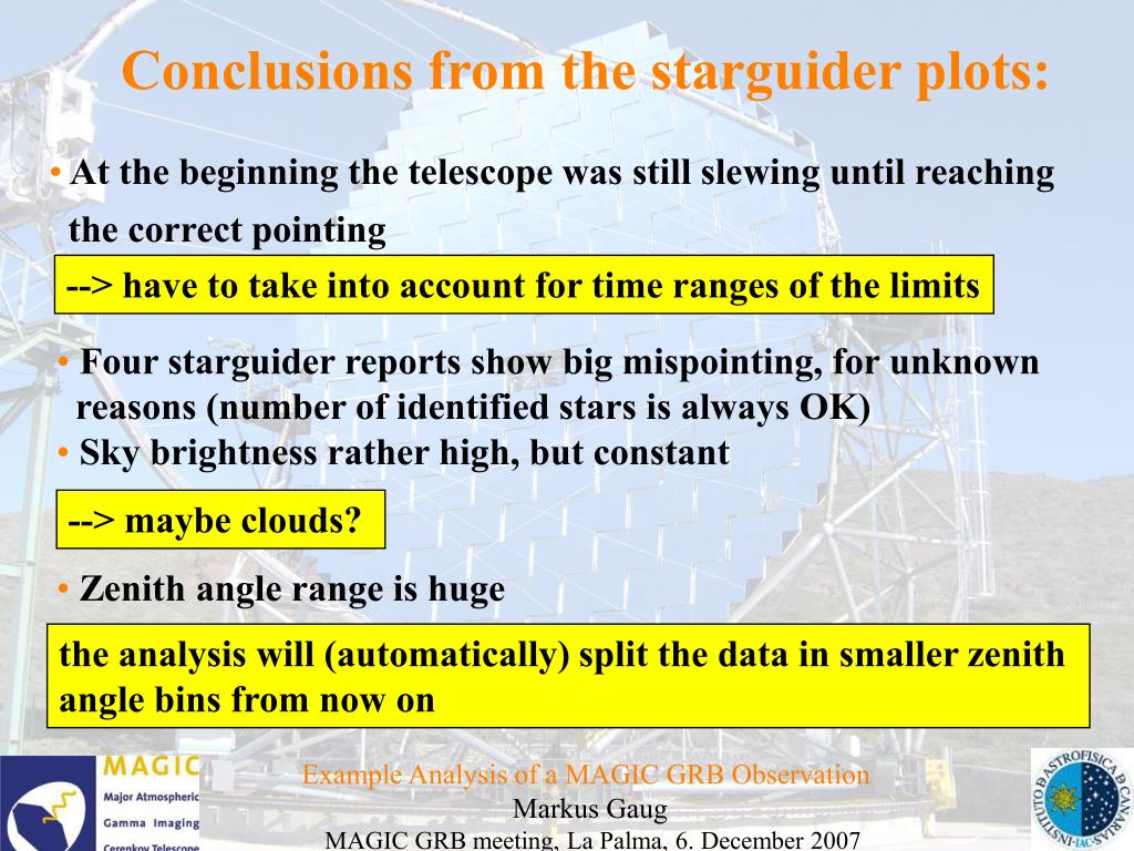 Conclusions from the starguider plots: