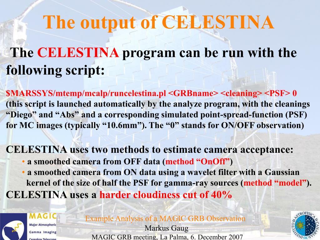 The output of CELESTINA