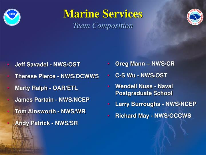 Marine services team composition