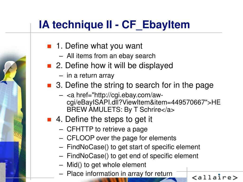 IA technique II - CF_EbayItem