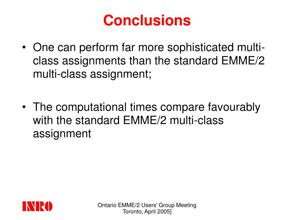 Ontario EMME/2 Users' Group Meeting