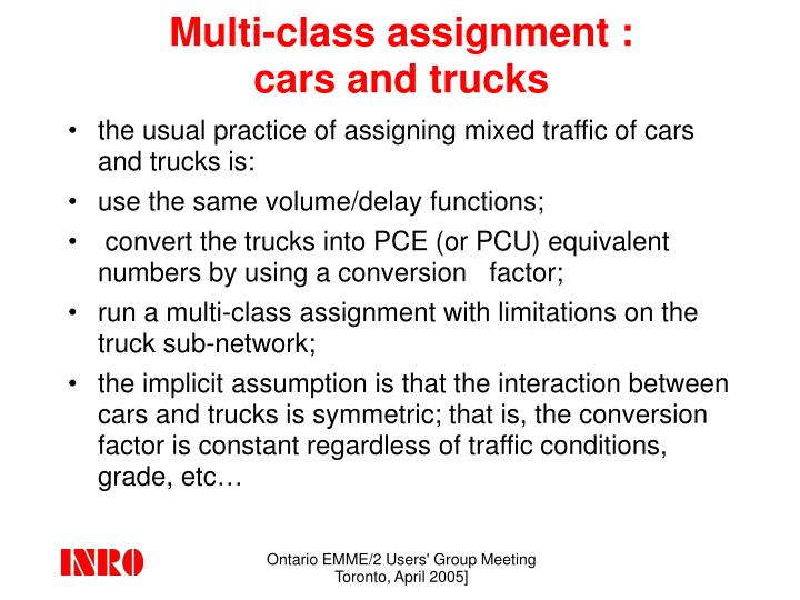 Multi class assignment cars and trucks