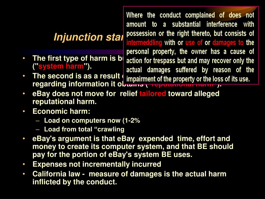 Injunction standards: Balance of Harm