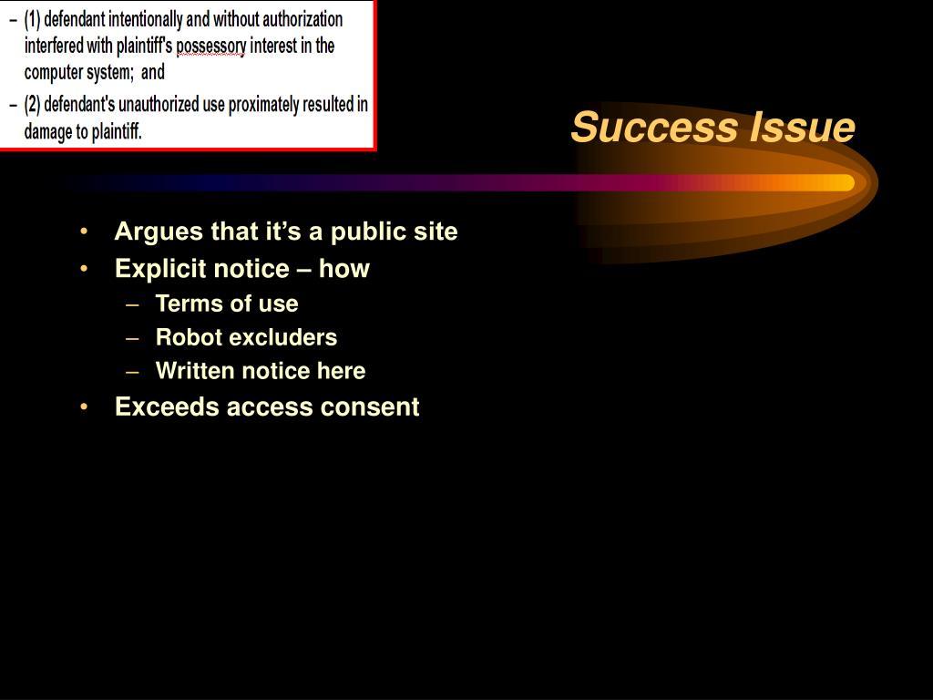 Success Issue