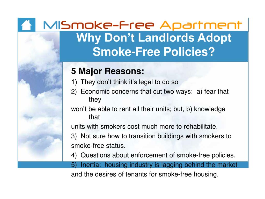 Why Don't Landlords Adopt Smoke-Free Policies?