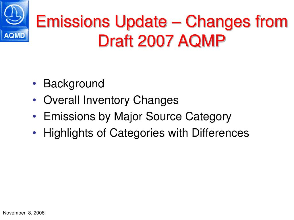 Emissions Update – Changes from Draft 2007 AQMP