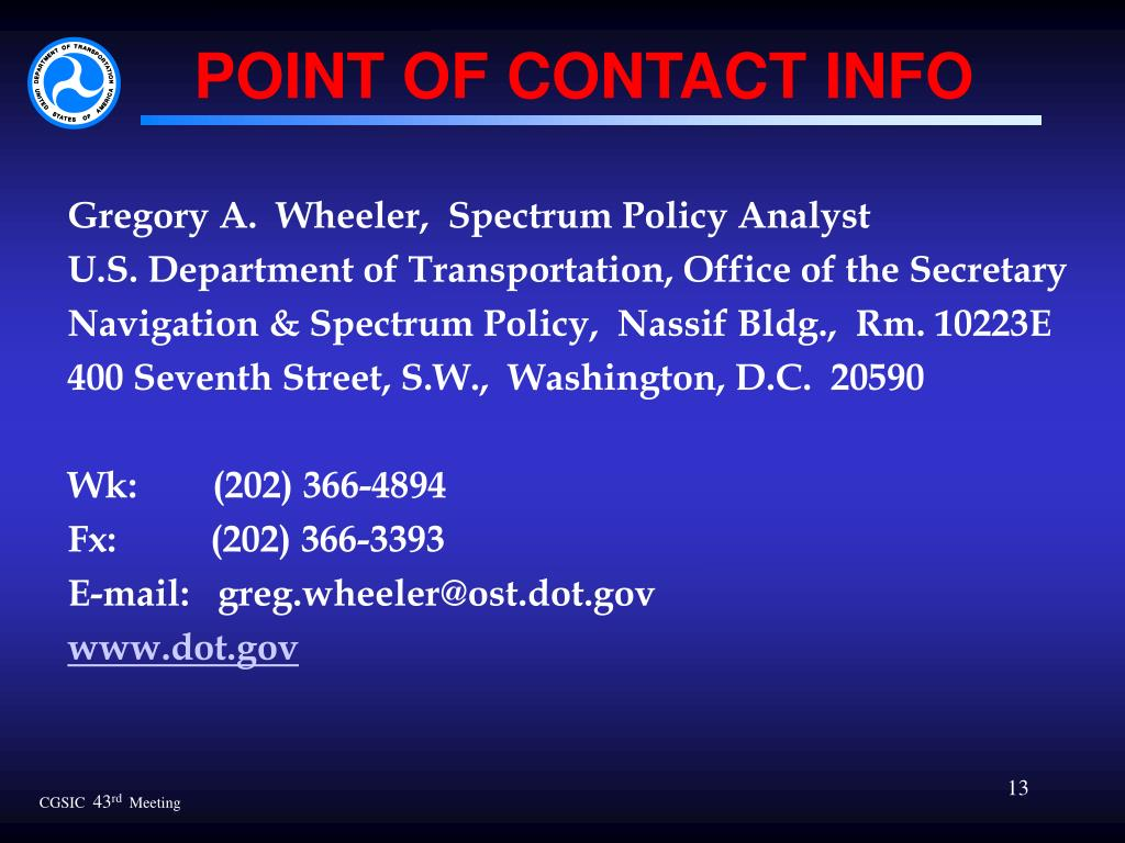 POINT OF CONTACT INFO