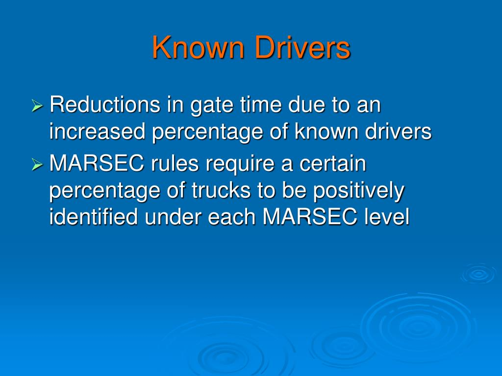 Known Drivers