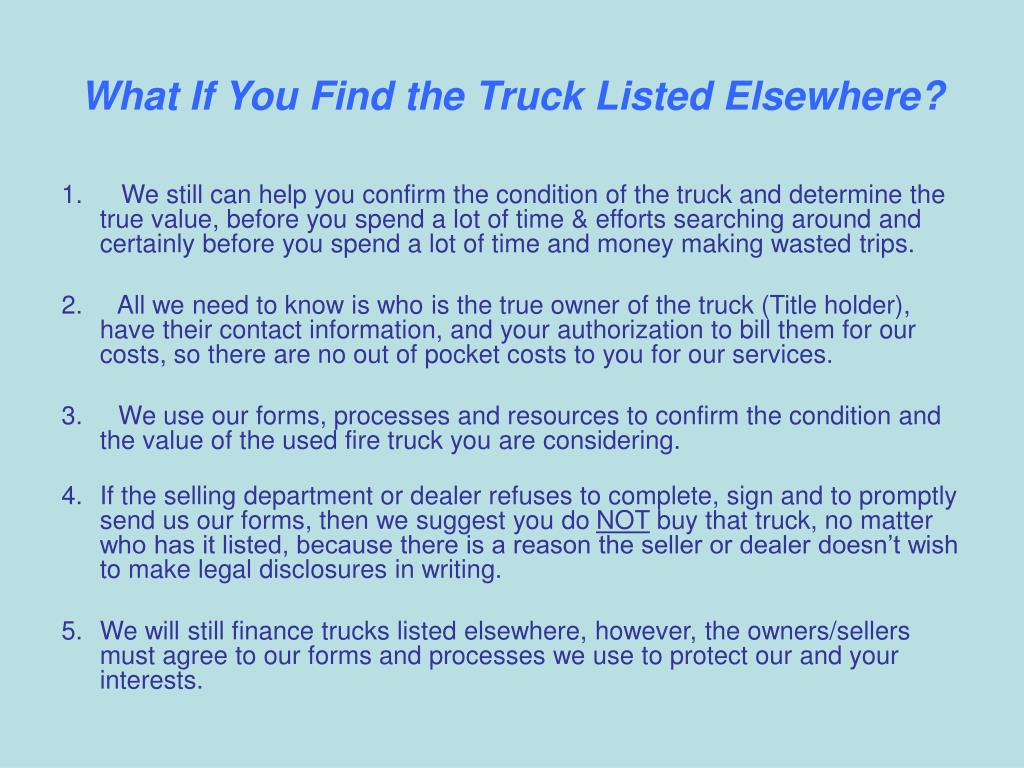 What If You Find the Truck Listed Elsewhere?