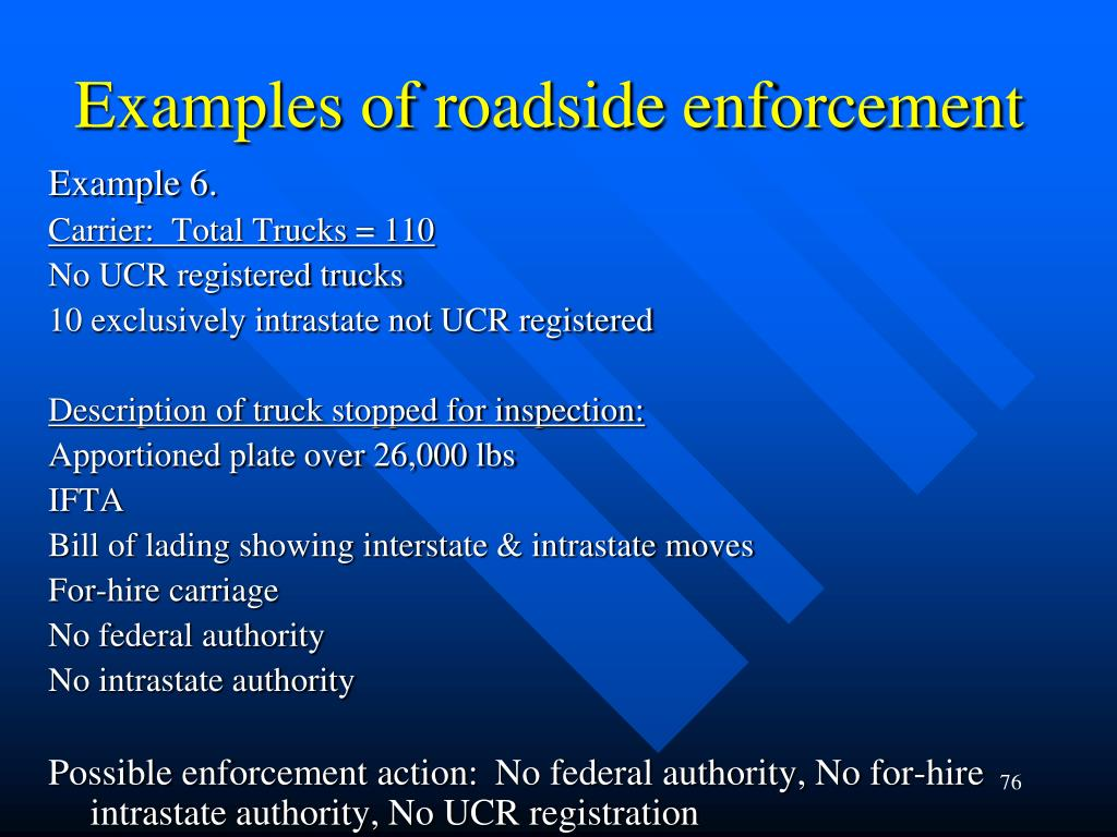 Examples of roadside enforcement