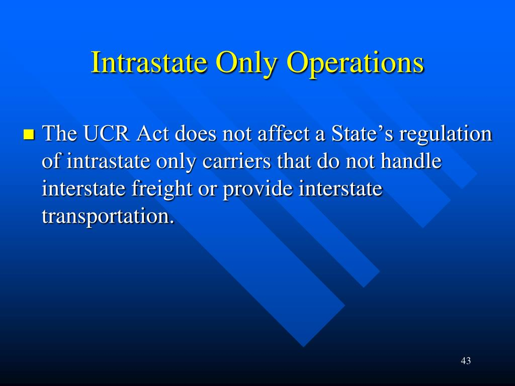 Intrastate Only Operations