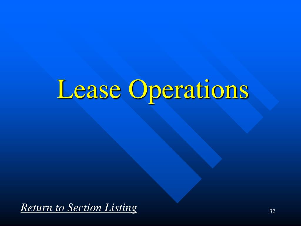 Lease Operations