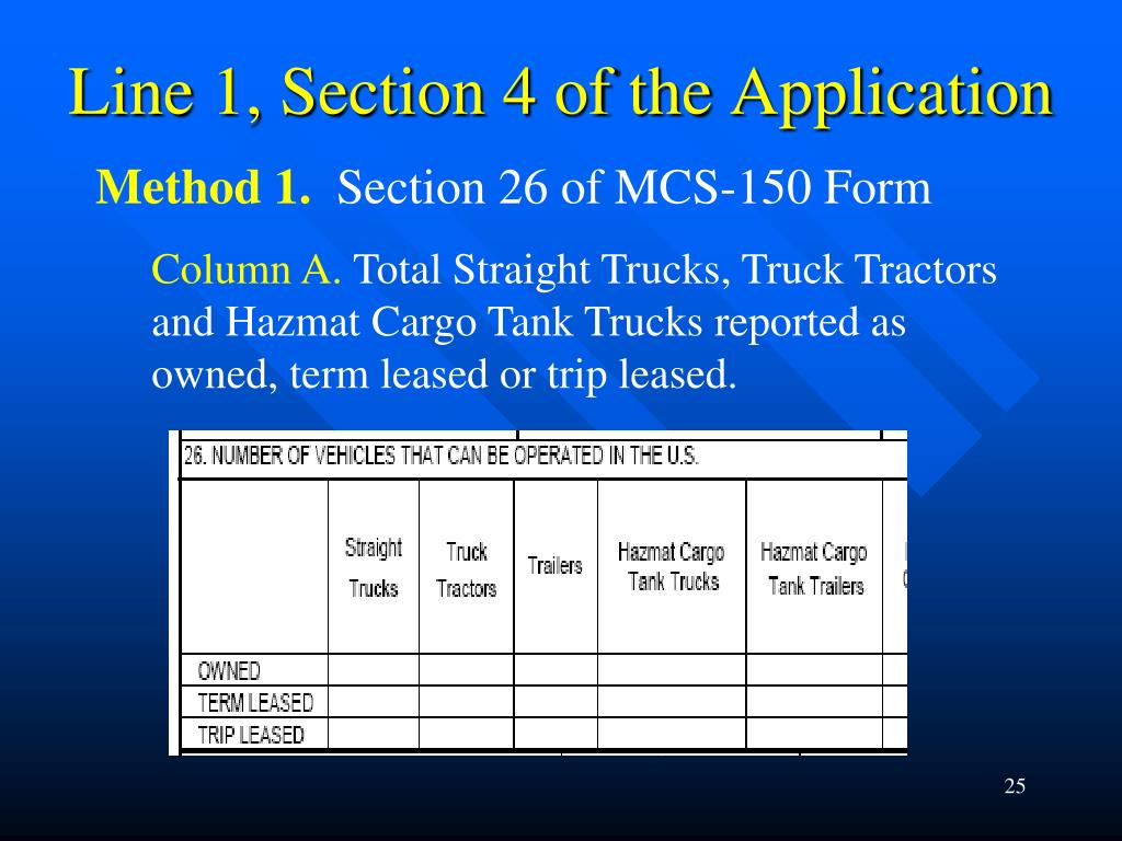 Line 1, Section 4 of the Application