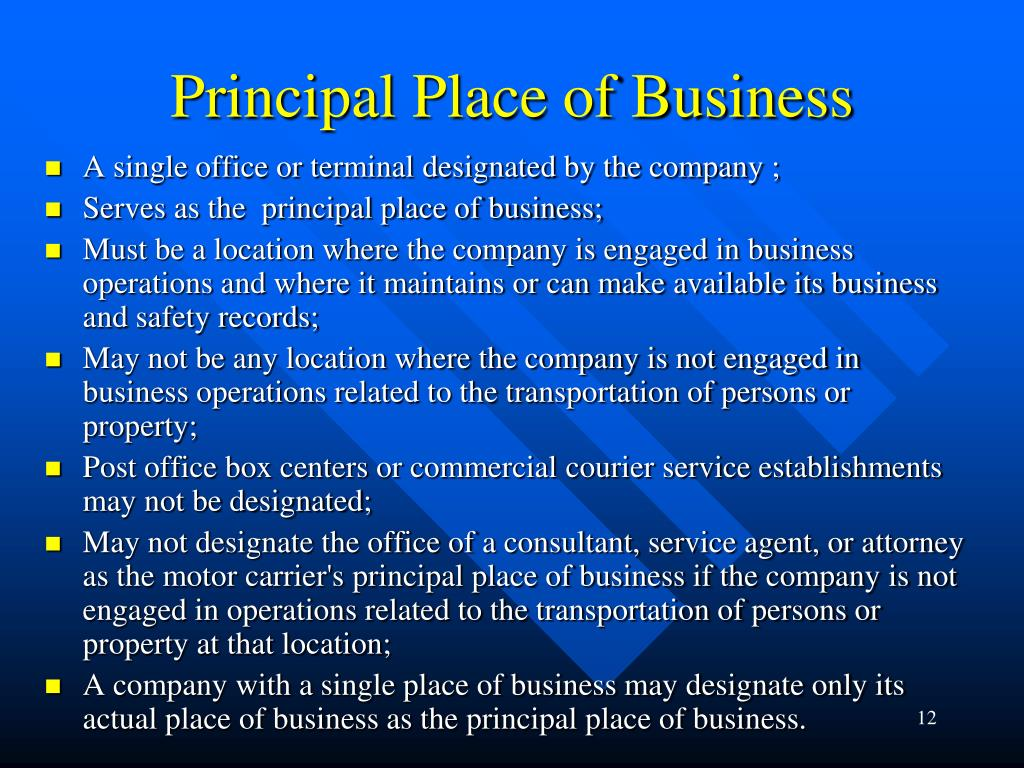 Principal Place of Business