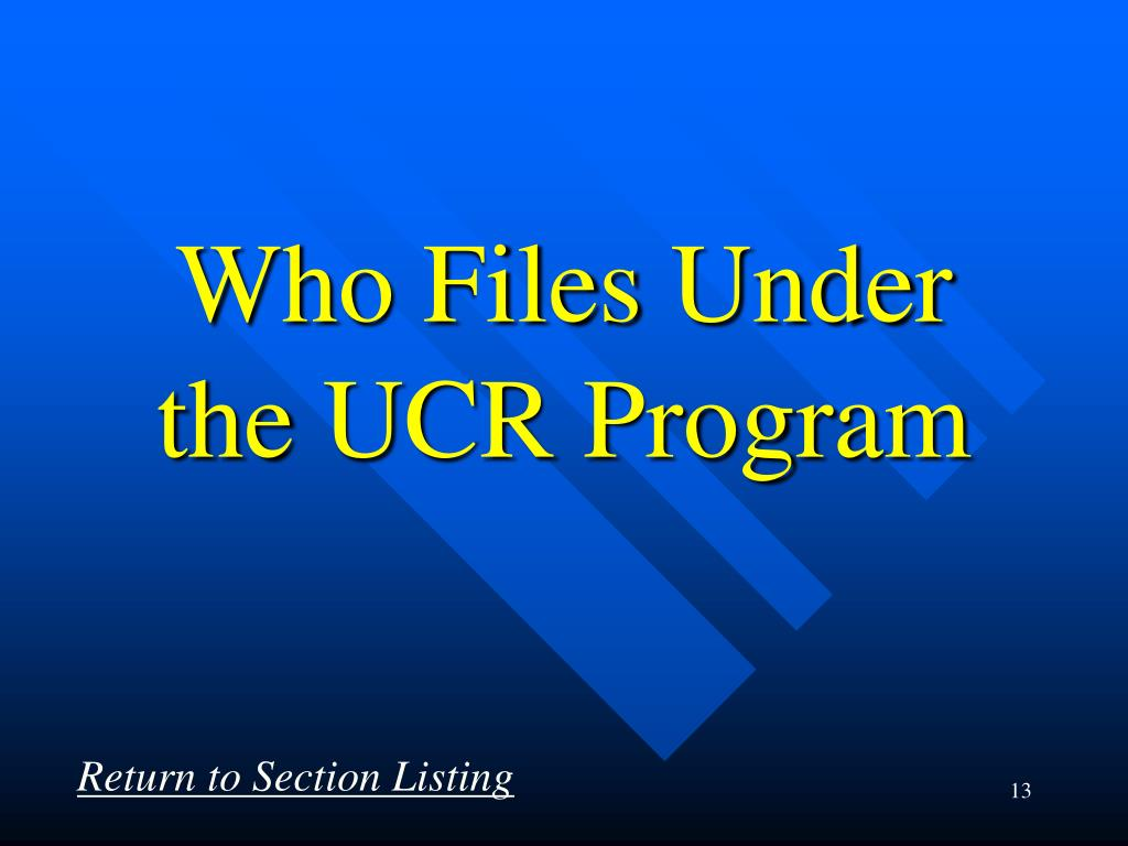 Who Files Under the UCR Program
