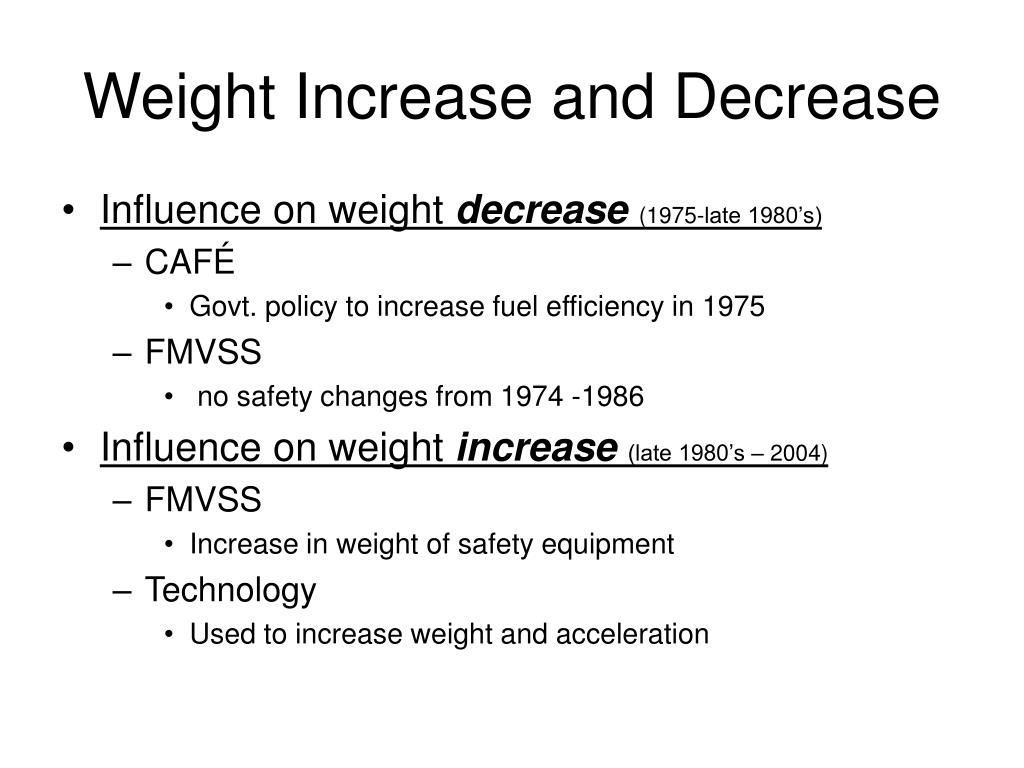 Weight Increase and Decrease