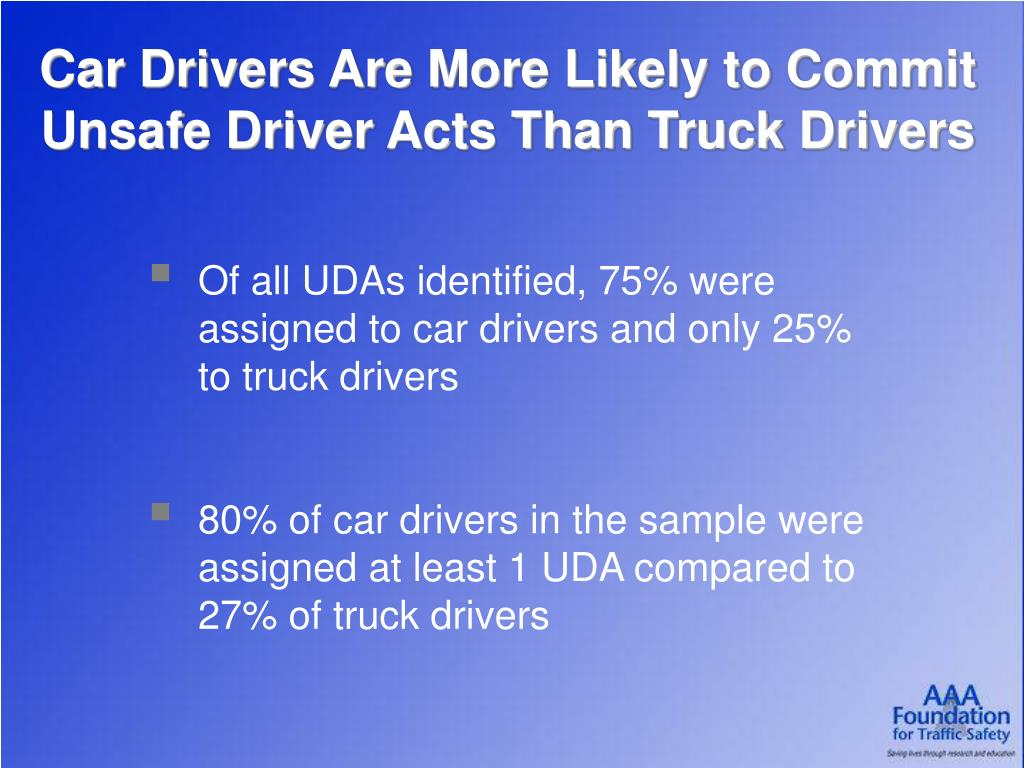 Car Drivers Are More Likely to Commit Unsafe Driver Acts Than Truck Drivers