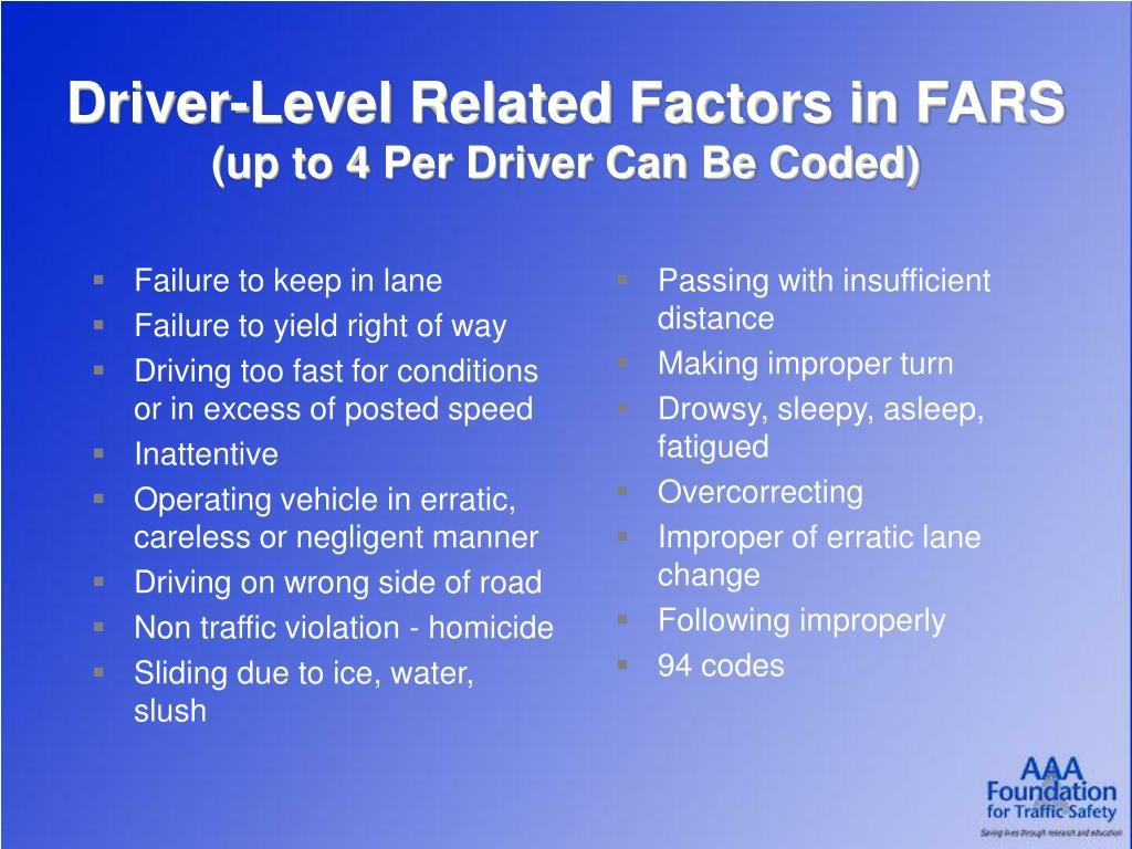 Failure to keep in lane