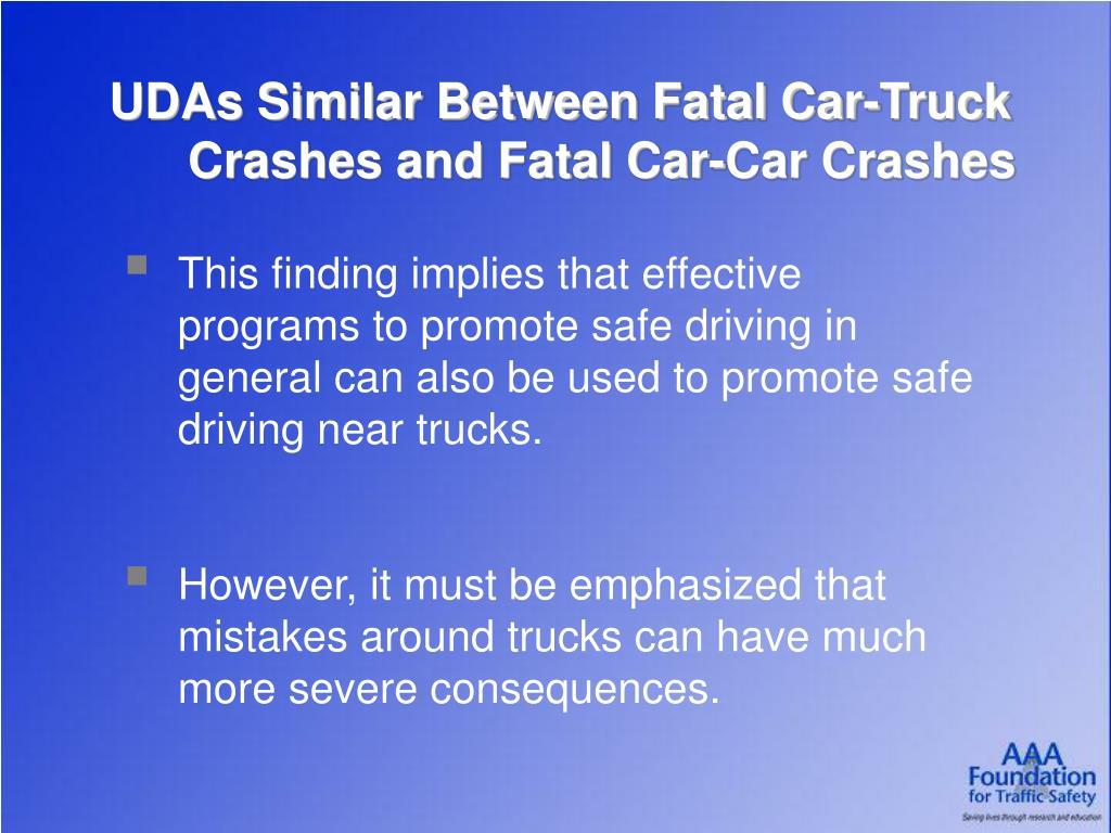 UDAs Similar Between Fatal Car-Truck Crashes and Fatal Car-Car Crashes