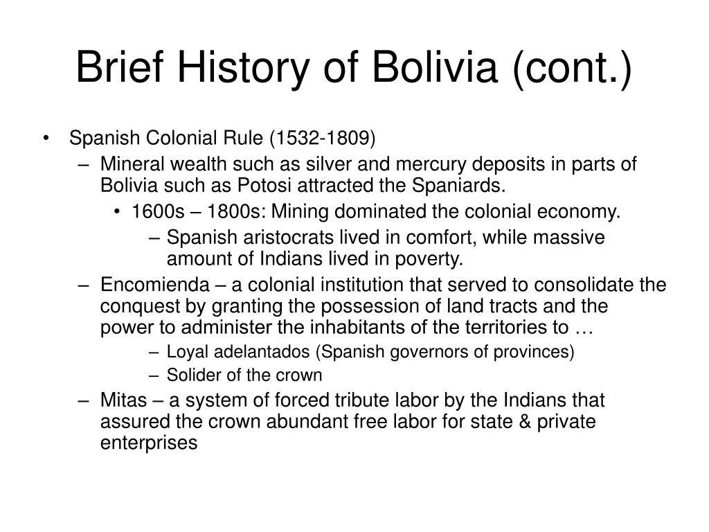 Brief History of Bolivia (cont.)