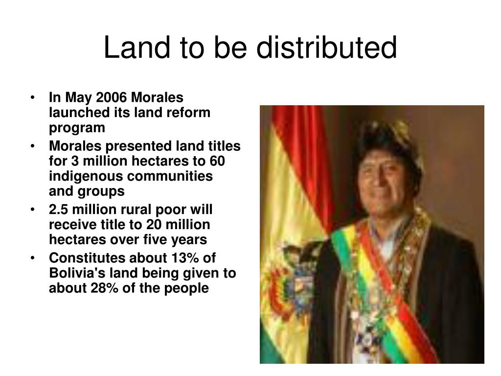 Land to be distributed
