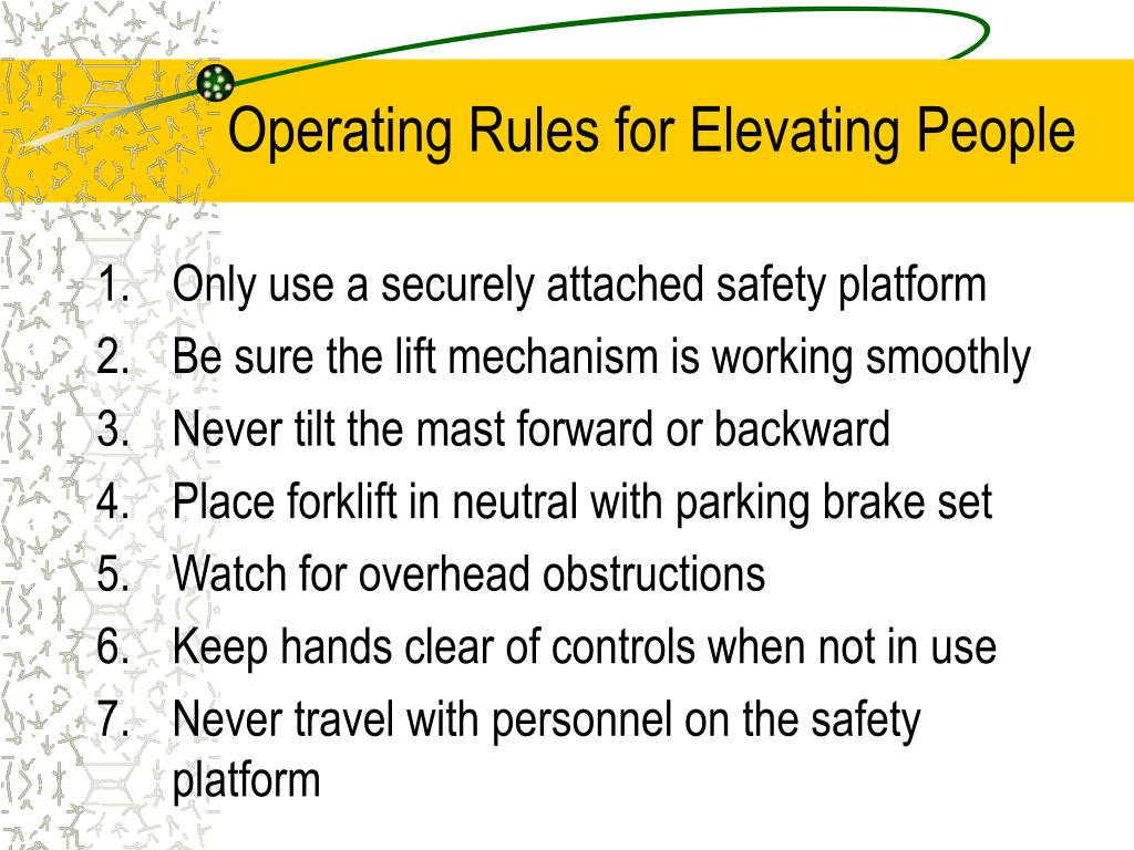 Operating Rules for Elevating People