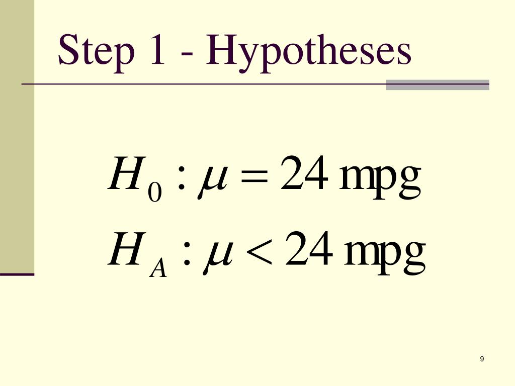 Step 1 - Hypotheses