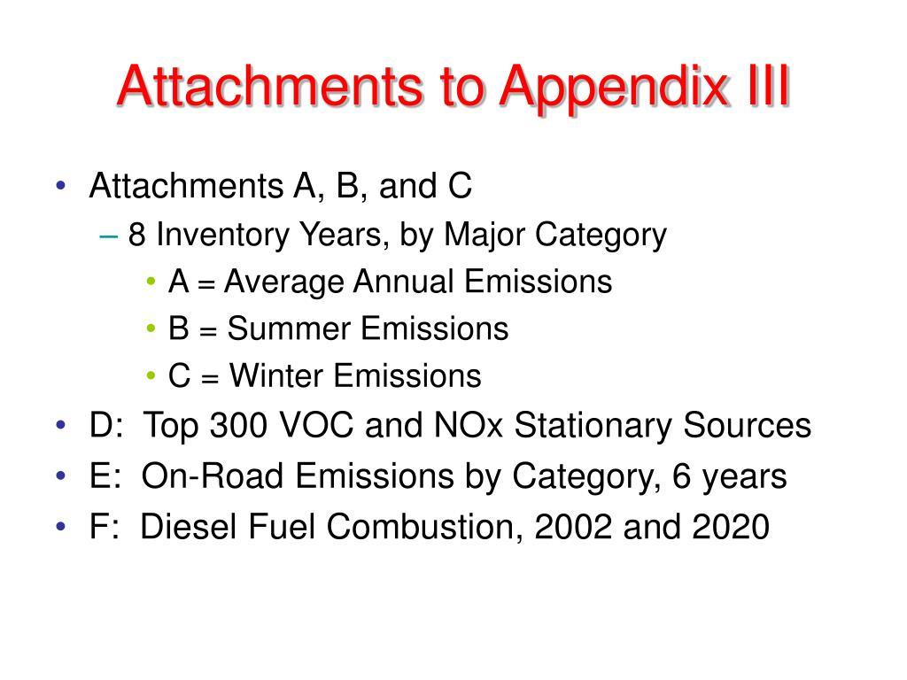Attachments to Appendix III