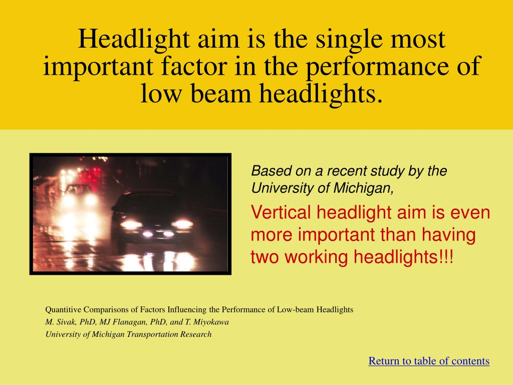 Headlight aim is the single most important factor in the performance of low beam headlights.