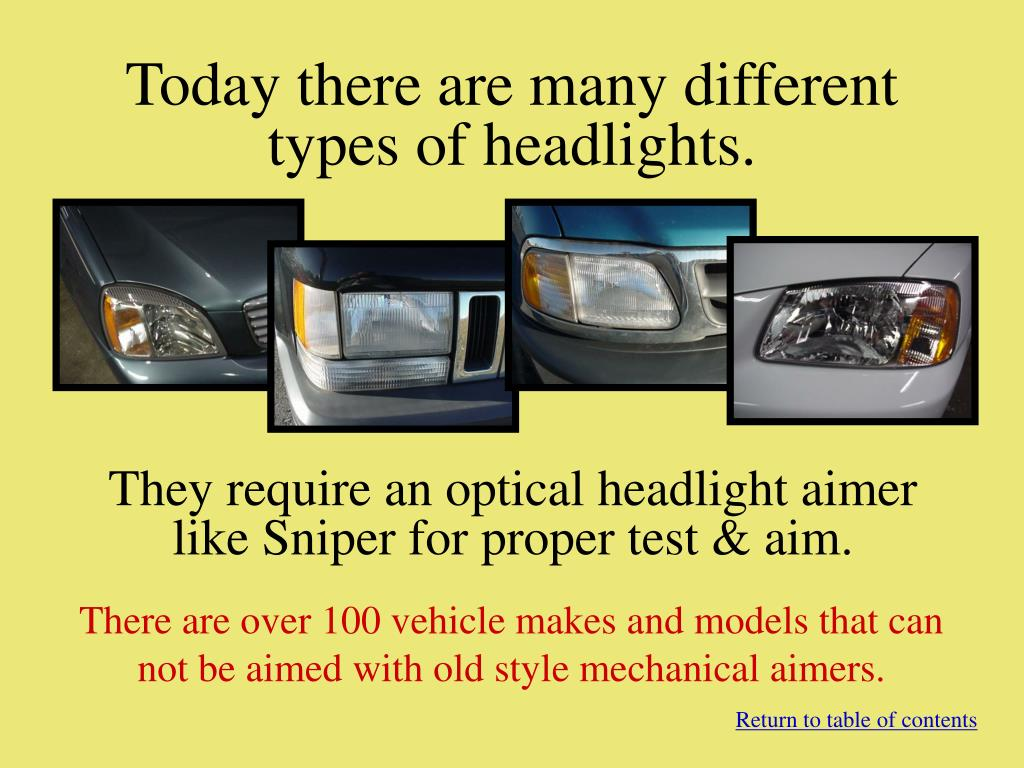 Today there are many different types of headlights.