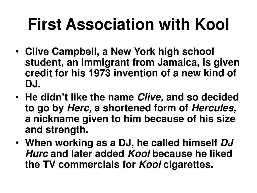 First Association with Kool