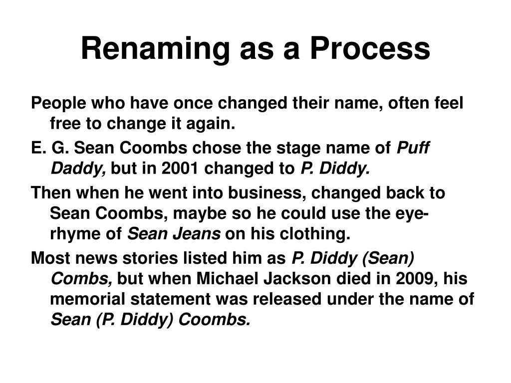 Renaming as a Process