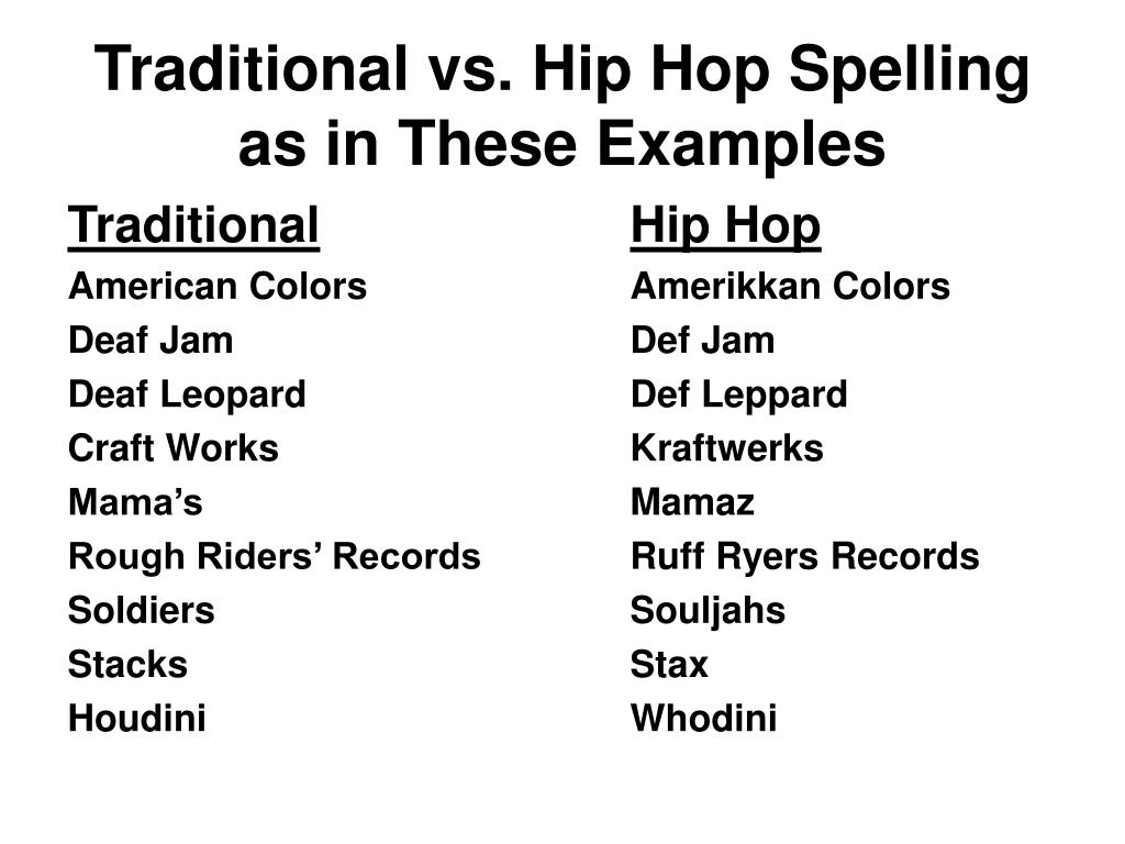 Traditional vs. Hip Hop Spelling