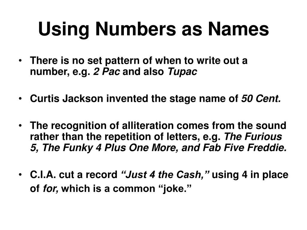 Using Numbers as Names