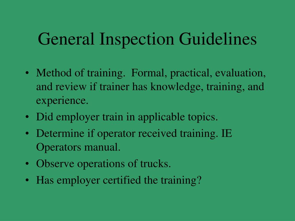 General Inspection Guidelines