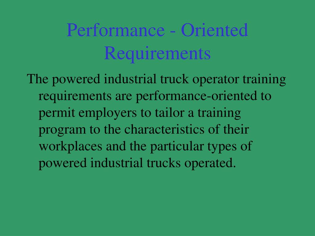 Performance - Oriented Requirements