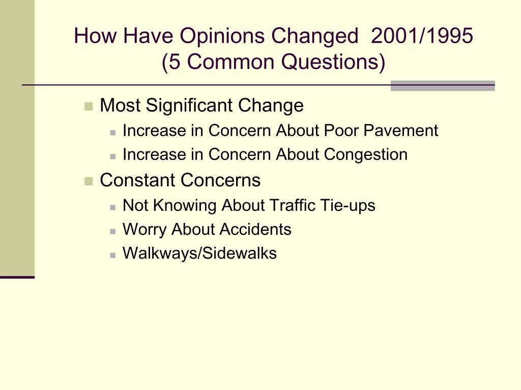 How Have Opinions Changed  2001/1995