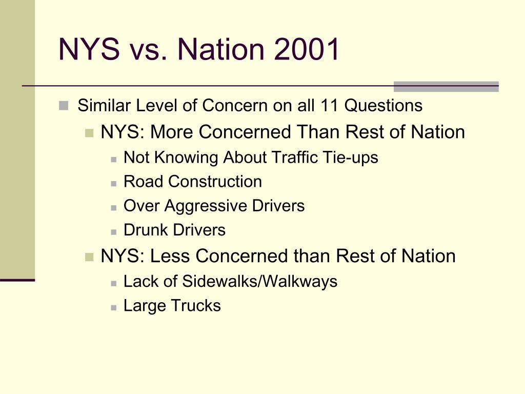 NYS vs. Nation 2001