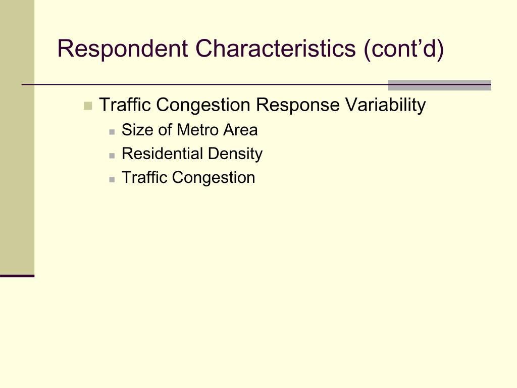 Respondent Characteristics (cont'd)