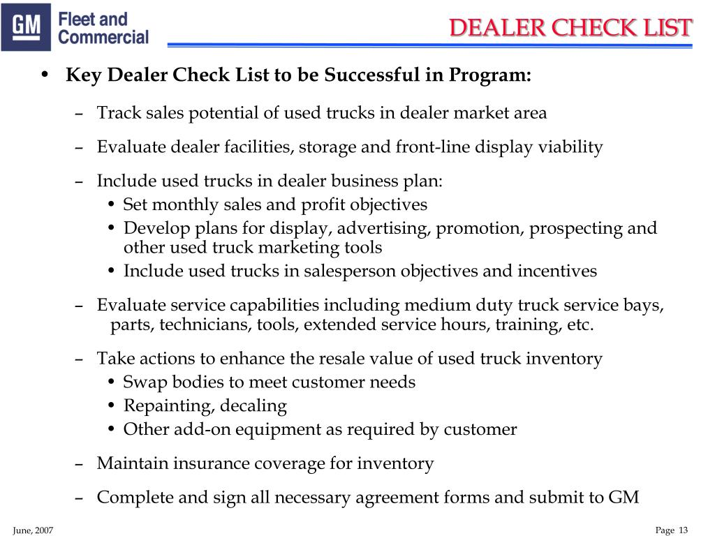 Key Dealer Check List to be Successful in Program: