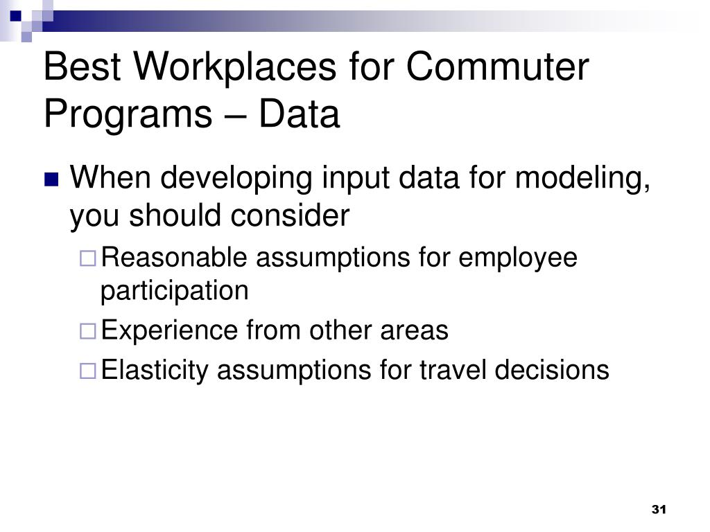 Best Workplaces for Commuter Programs – Data