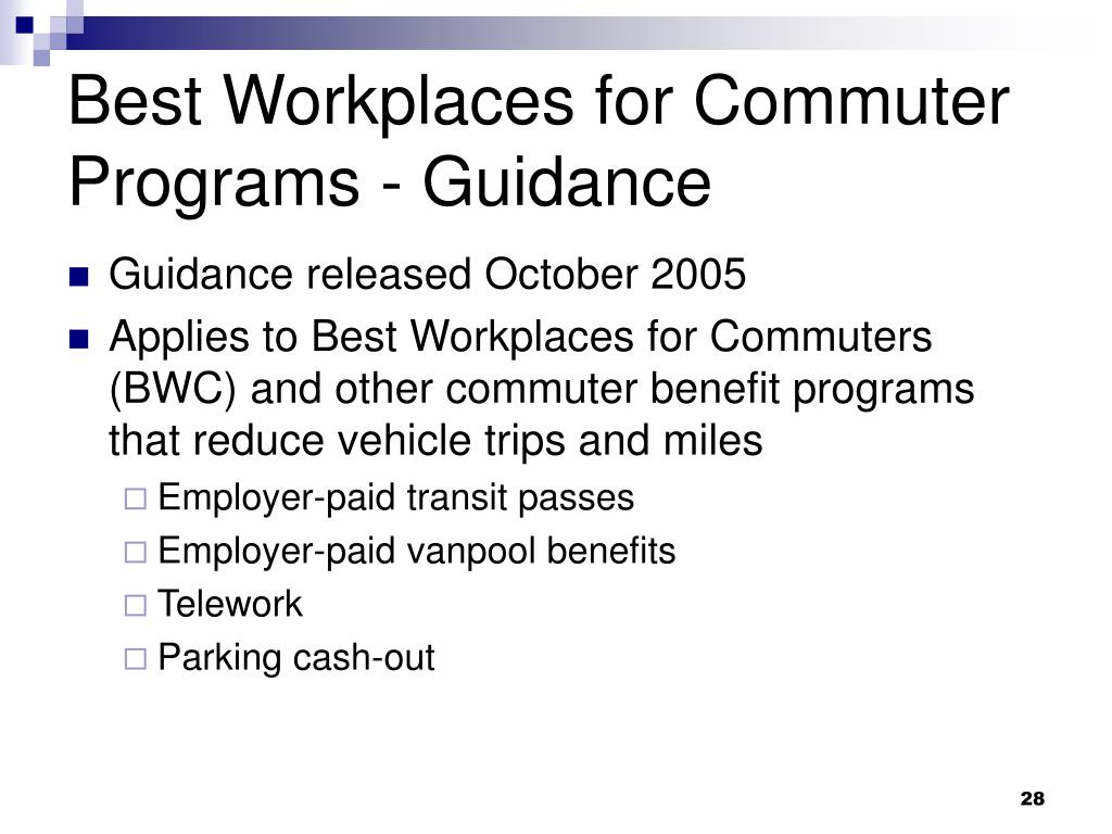Best Workplaces for Commuter Programs - Guidance