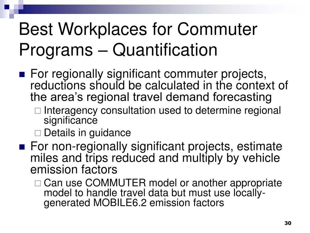 Best Workplaces for Commuter Programs – Quantification